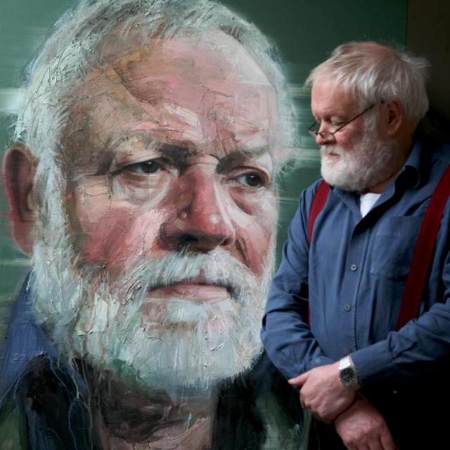 Michael Longley in the studio after the final sitting.