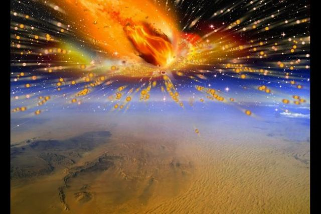 An artist's rendition of the comet exploding in Earth's atmosphere above Egypt.