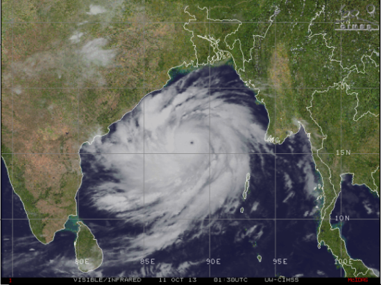 "Cyclone Phailin on October 10, 2013. Some media are describing it as ""half the size of India."" Image via CIMSS"